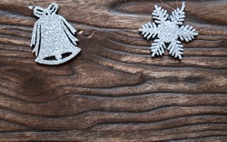Christmas ornaments - little silver bell and star pines