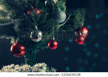 Christmas Ornaments on Christmas tree background #1236634138