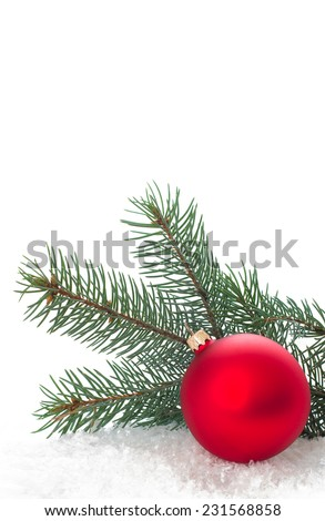 Christmas ornaments on Christmas tree. Christmas border with ornament, present and snow. New Year festive design greeting card isolated on white background