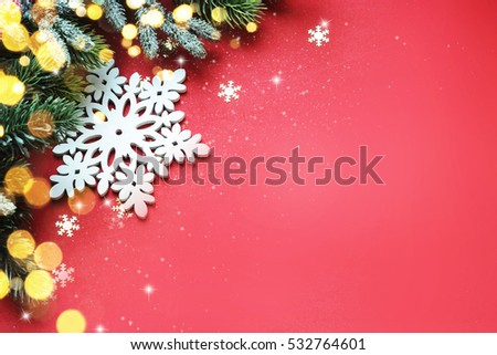 Christmas ornaments on red background, border design, top view #532764601
