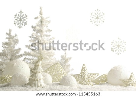 Christmas ornaments on snow. - stock photo