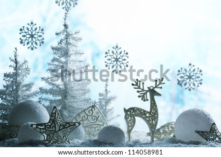Christmas ornaments on snowflakes.