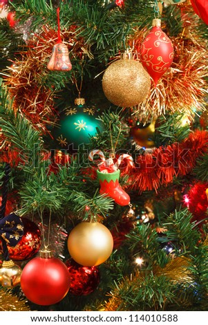 Christmas ornaments on tree