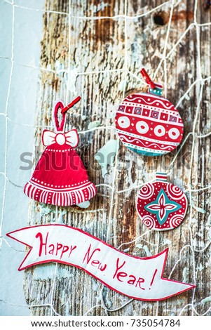Merry Christmas Christmas Decoration Over Grunge Background Vintage