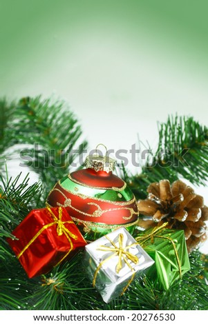 Christmas ornaments presented on a branch tree