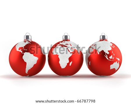 Christmas ornaments with world maps - 3d render