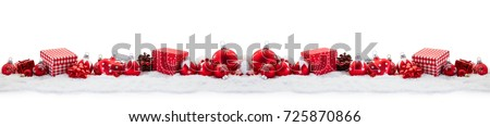 Christmas panorama background with gifts and baubles #725870866