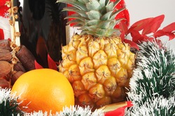 Christmas party, composition with champagne and fruit