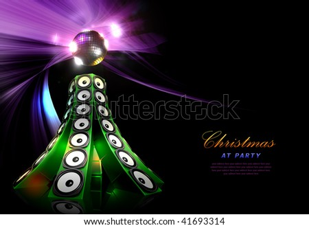 Christmas party illustration idea with loudspeakers in pine shape - ideal for poster or card