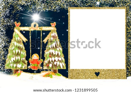 Christmas photo frame card. Figurine of a girl on a swing of Christmas trees and golden glitter frame to put picture or write message