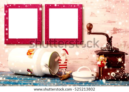 Christmas photo frames cards, Vintage Santa Claus rag doll and Angel with antique milk pot and coffee grinder and two empty photo frames hanging on kitchen wall.