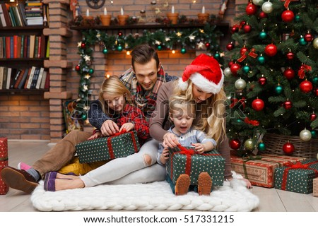 Christmas photo of surprised family