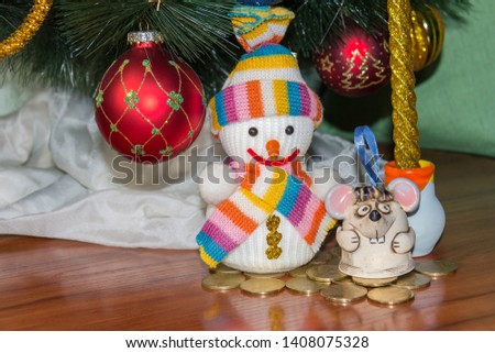 Christmas picture, greeting card with a rat and snowman