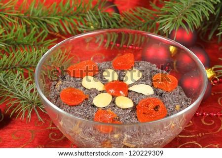 Christmas poppy seed dessert. Traditional Christmas Eve cuisine in Poland