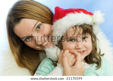 Christmas portrait of a beautiful family - stock photo