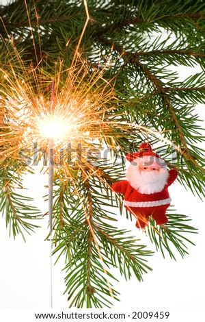 Christmas postcard with Santa Claus and light. White background. 13