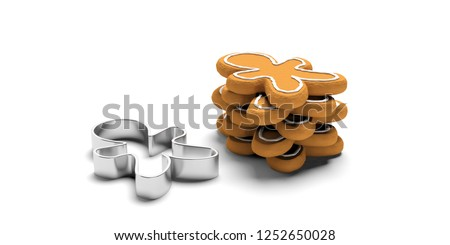 Christmas preparation, gingerbread cookies. Stack of man shaped gingerbread cookies and a cutter, isolated, against white background. 3d illustration Stockfoto ©
