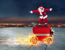 Christmas present like a car. Concept of priority and fast delivery