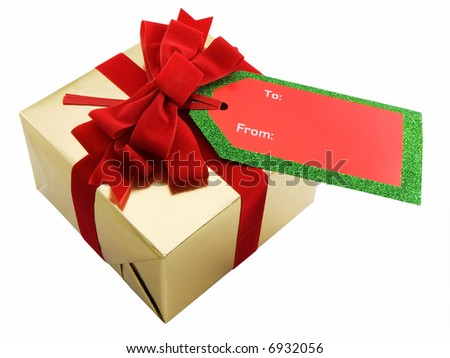 Christmas present with blank gift tag