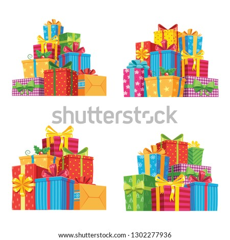 Christmas presents in gift boxes. Birthday present box, xmas or wedding anniversary, valentine gifts pile with ribbon. Holiday greeting isolated  icons illustration set