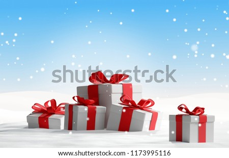Christmas presents in the snow 3d-illustration