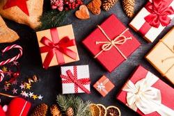 Christmas presents on dark background