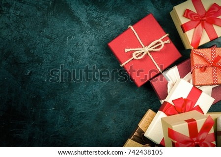 Christmas presents on dark background #742438105