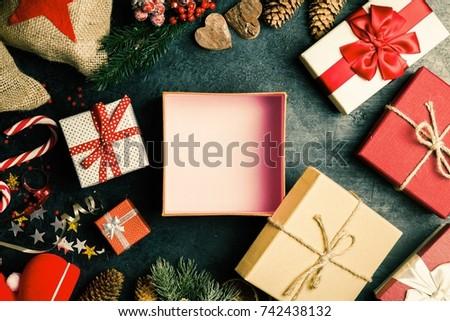 Christmas presents on dark background #742438132