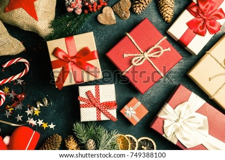Christmas presents on dark background #749388100