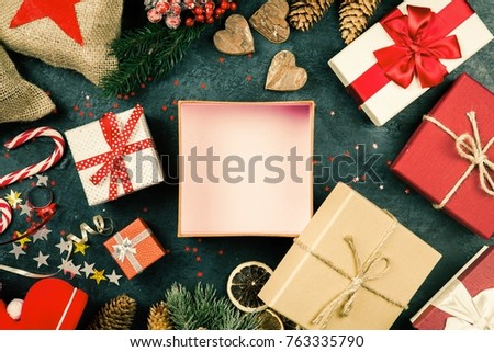 Christmas presents on dark background #763335790