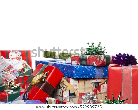Christmas presents on white background #522989725