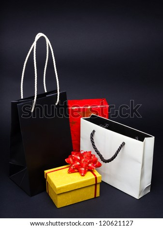 Christmas presents over black background
