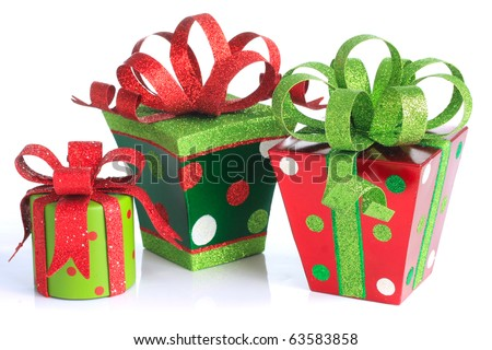 Christmas presents, studio isolated on white.