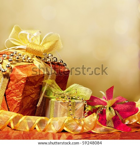 Christmas presents with colorful lights and decorations