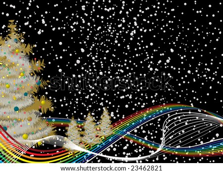 stock photo : Christmas rainbow background with snowflake falling from the