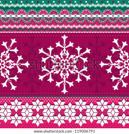 Christmas red and green seamless pattern with strips and snowflakes