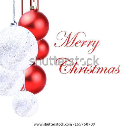 Christmas red  and white balls hanging with ribbon bows on white background