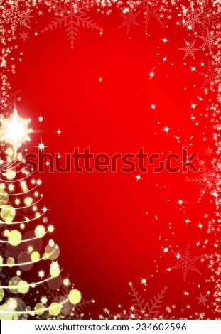Christmas red background with snowflakes frame and Christmas tree #234602596