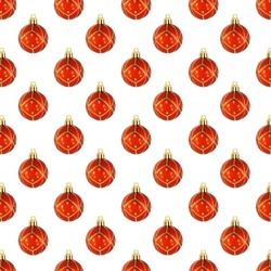 Christmas red Ball seamless pattern on a white background.