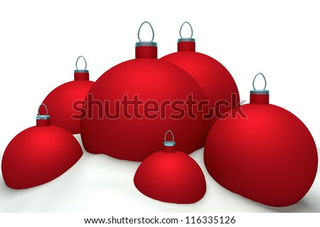 Christmas red balls in snow isolated on white background 3d concept