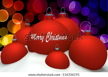 Christmas red balls with mark Merry Christmas in snow on color bokeh background 3d concept