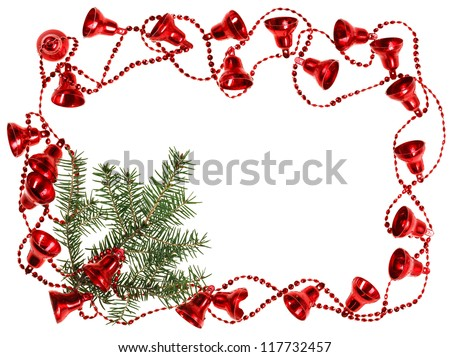 Christmas red bell garland frame with fir branch, isolated on white