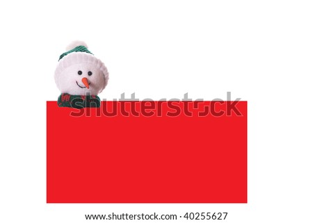 Christmas red card with snowman