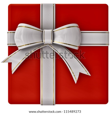 Christmas red gift with white ribbon and bow on white background