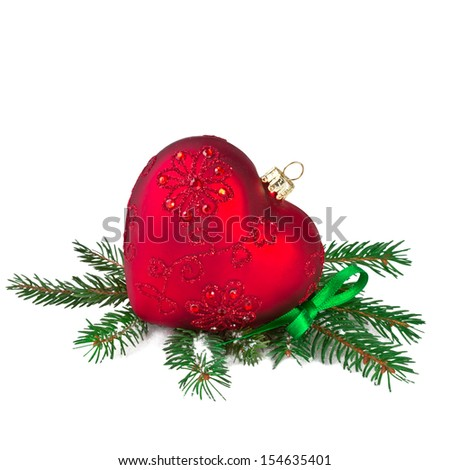 Christmas Red Heart with Fir Branch