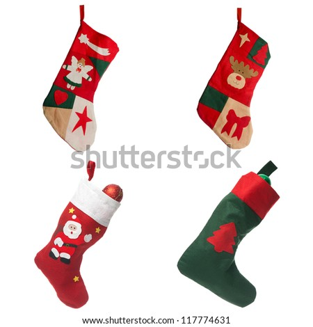 Christmas red stockings. Concept of christmas or holiday.