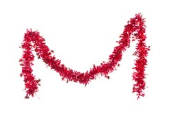 Christmas red tinsel with stars. Isolated on a white background.