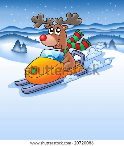 Christmas reindeer in snowy landscape - color illustration.