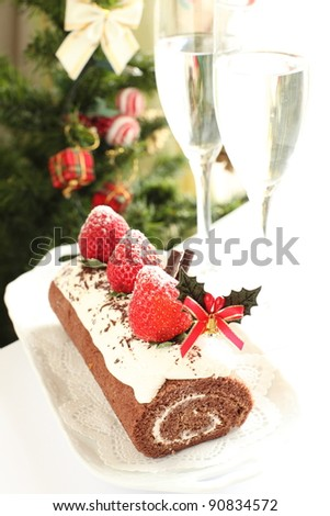 Christmas roll cake with strawberry