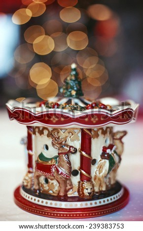 Christmas Room Interior Design, Xmas Tree Decorated By Lights Presents Gifts Toys